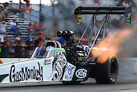 Sep 19, 2014; Ennis, TX, USA; NHRA top fuel driver Kebin Kinsley during qualifying for the Fall Nationals at the Texas Motorplex. Mandatory Credit: Mark J. Rebilas-USA TODAY Sports
