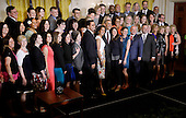 United States President Barack Obama poses for a group photo with US Secretary of Education John King and the 2016 National Teacher of the Year Jahana Hayes of Connecticut and finalists during an event in the East Room of the White House on May 3, 2016 in Washington D.C. <br /> Credit: Olivier Douliery / Pool via CNP