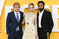 "LONDON, UK. June 18, 2019: Ed Sheeran, Lily James and Himesh Patel arriving for the UK premiere of ""Yesterday"" at the Odeon Luxe, Leicester Square, London.<br /> Picture: Steve Vas/Featureflash"