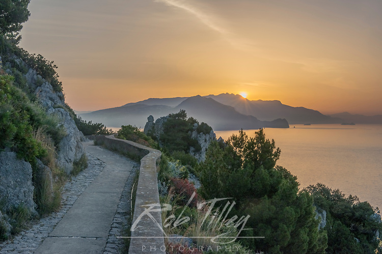 Europe, Italy, Isle of Capri, Sunrise Over the Sorrento Peninsula