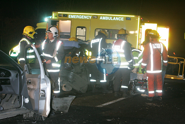 Two Units from Meath Fire Service out of Navan and Two units of Drogheda Fire and Rescue service were dispatched to a four car RTA at Balrath Cross on the N2 Dublin Derry Road shortly after 5 pm on thursday evening, Two ambulances dispatched from Ambulance control removed two casultys from two of the vehicles, to Our lady of Lourdes Hospital in Drogheda. The Main road was closed for a period of time while the emergency services delt with the scene..Photo: Andy Sperman/ Newsfile.<br />