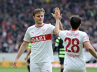 FUSSBALL  1. BUNDESLIGA  SAISON 2011/2012  29. Spieltag   07.04.2012 VfB Stuttgart - 1. FSV Mainz JUBEL Stuttgart; William Kvist (li) klatscht Tomas Hajnal ab
