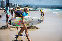 COOLANGATTA, Queensland/Australia (Tuesday, March 3, 2015) Bronte MacAulay (AUS). - Round 2 of the  Roxy Pro Gold Coast was held today. The event got underway today at 11.30 a.m. local time after being put on hold twice during the morning.<br /> <br /> Stephanie Gilmore (AUS)  competed in Round 2 today and advanced to Round 3 after defeating wildcard Bronte MacAulay (AUS) in a close surfed heat..<br /> Tyler Wright  (AUS) also advanced to Round 3 after winning her heat against Alessa Cuzion (HAW)<br /> -  Photo: joliphotos.com