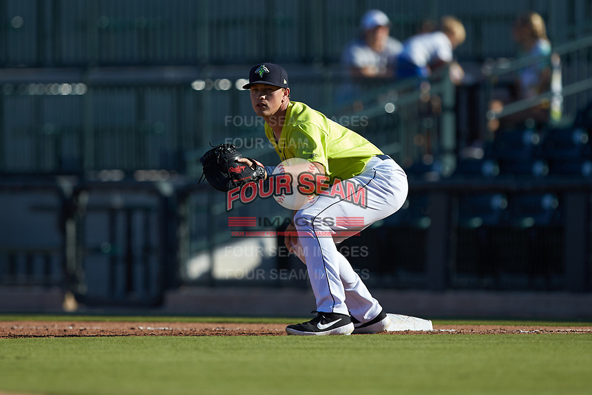 Columbia Fireflies first baseman Brian Sharp (7) on defense against the Rome Braves at Segra Park on May 13, 2019 in Columbia, South Carolina. The Fireflies walked-off the Braves 2-1 in game one of a doubleheader. (Brian Westerholt/Four Seam Images)