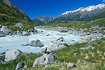 New Zealand, South Island, Mt. Cook NP, Hooker River