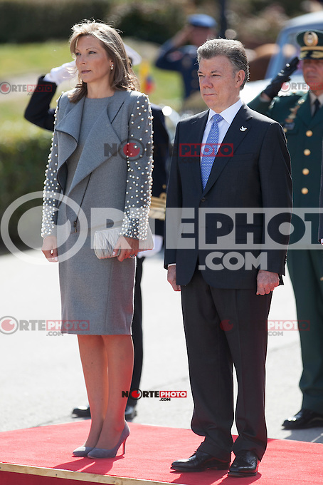 Colombia´s President Juan Manuel Santos and his wife Maria Clemencia Rodriguez during the welcome ceremony with Spanish Royals at the Pardo Palace in Madrid, Spain. March 01, 2015. (ALTERPHOTOS/Victor Blanco) /NORTEphoto.com
