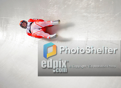 6 February 2009: Ewelina Staszulonek from Poland slides through a curve in the Women's Competition finishing in 13th place for the event with a combined time of 1:29.571 at the 41st FIL Luge World Championships, in Lake Placid, New York, USA. .  .Mandatory Photo Credit: Ed Wolfstein Photo