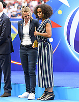 20190707 - LYON , FRANCE : General secretary of the French Football Federation Laura Georges pictured receiving the FIFA Fair Play Award for France after the female soccer game between The United States of America – USA-  and the Netherlands – Oranje Leeuwinnen -, the final  of the FIFA Women's  World Championship in France 2019, Sunday 7 th July 2019 at the Stade de Lyon  Stadium in Lyon  , France .  PHOTO SPORTPIX.BE | DAVID CATRY