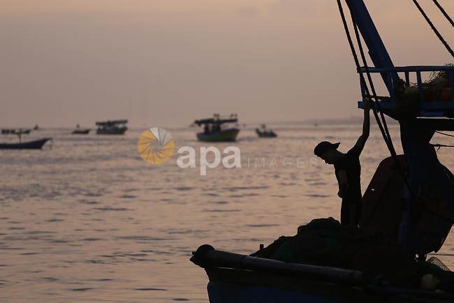 Palestinian fishermen ride a fishing boat, in Gaza seaport, on August 10, 2017. Photo by Mohammed Asad