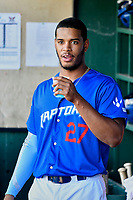 Cristian Santana (27) of the Ogden Raptors before the game against the Orem Owlz in Pioneer League action at Lindquist Field on June 22, 2017 in Ogden, Utah. The Owlz defeated the Raptors 13-8.  (Stephen Smith/Four Seam Images)