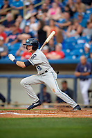 West Michigan Whitecaps center fielder Danny Woodrow (8) follows through on a swing during the second game of a doubleheader against the Lake County Captains on August 6, 2017 at Classic Park in Eastlake, Ohio.  West Michigan defeated Lake County 9-0.  (Mike Janes/Four Seam Images)