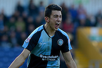 Wycombe Wanderers Luke O'Nien celebrates putting the visitors 1-0 ahead during the Sky Bet League 2 match between Mansfield Town and Wycombe Wanderers at the One Call Stadium, Mansfield, England on 31 October 2015. Photo by Garry Griffiths.