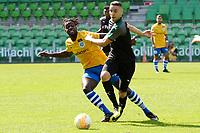 GRONINGEN - Voetbal, FC Groningen - de Graafschap, oefenduel, seizoen 2018--2019, 05-09-2018, <br /> FC Groningen speler Mimoun Mahi met Myenty Abena