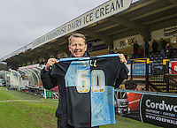 BBC Breakfast show bill Turnbull is presented a Signed shirt at HT during the Sky Bet League 2 match between Wycombe Wanderers and Exeter City at Adams Park, High Wycombe, England on 13 February 2016. Photo by Andy Rowland.