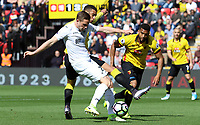 Luciano Narsingh of Swansea City is challenged by Etienne Capoue of Watford during the Premier League match between Watford and Swansea City at Vicarage Road Stadium, Watford, England, UK. Saturday 15 April 2017