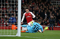 Arsenal's Mesut Ozil is brought down by CSKA Moscow's Georgi Schennikov to earn his side a penalty<br /> <br /> Photographer Rob Newell/CameraSport<br /> <br /> UEFA Europa League Quarter-Final First Leg - Arsenal v CSKA Moscow - Thursday 5th April 2018 - The Emirates - London<br />  <br /> World Copyright &copy; 2018 CameraSport. All rights reserved. 43 Linden Ave. Countesthorpe. Leicester. England. LE8 5PG - Tel: +44 (0) 116 277 4147 - admin@camerasport.com - www.camerasport.com
