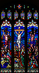 Stained glass window Crucifixion, c 1865 by H Hughes, Wetherden church, Suffolk, England, UK