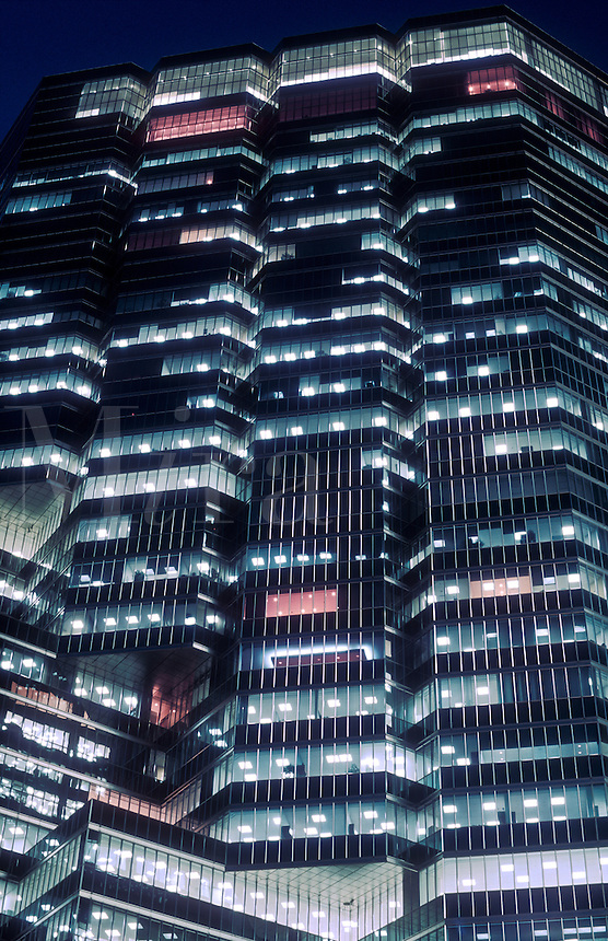 Canada, Ontario, Toronto, office tower illuminated at night