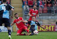 Jack Payne of Leyton Orient & Luke O'Nien of Wycombe Wanderers go for the ball during the Sky Bet League 2 match between Leyton Orient and Wycombe Wanderers at the Matchroom Stadium, London, England on 19 September 2015. Photo by Andy Rowland.
