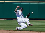 Reno Aces second baseman Rusty Ryal knocks down a one-hop grounder against the Tacoma Rainiers in their game played on Monday, May 7, 2012 in Reno, Nevada