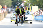 Mitchelton-Scott including Simon Yates (GBR) in action during Stage 2 of the 2019 Tour de France a Team Time Trial running 27.6km from Bruxelles Palais Royal to Brussel Atomium, Belgium. 7th July 2019.<br /> Picture: Colin Flockton | Cyclefile<br /> All photos usage must carry mandatory copyright credit (© Cyclefile | Colin Flockton)