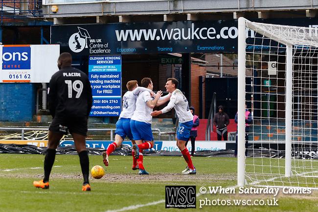 Goal celebration by Brett Pitman of Portsmouth. Oldham v Portsmouth League 1