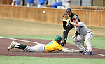 SIOUX FALLS, SD: Josh Falk #19 from South Dakota State University waits for the ball as Alec Abercrombie #3 from North Dakota State University dives back to first Thursday in Sioux Falls. (Dave Eggen/Inertia)