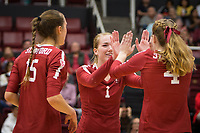 Stanford, CA - October 18, 2019: Madeleine Gates, Jenna Gray, Meghan McClure at Maples Pavilion. The No. 2 Stanford Cardinal swept the Colorado Buffaloes 3-0.