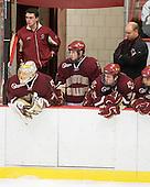 John Muse (BC - 1), Cam Atkinson (BC - 13), Pat Mullane (BC - 11), John Hegarty (BC - Dir-Hockey Operations), Chris Kreider (BC - 19) - The Boston College Eagles defeated the Harvard University Crimson 3-2 on Wednesday, December 9, 2009, at Bright Hockey Center in Cambridge, Massachusetts.