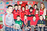 Munster star JJ Hanrahan returned to Currow NS on Wednesday teach rugby skills to the pupils for the school Active School Flag project on Wednesday front row l-r: Cathal Sheehan, Fiona Brosnan, Caitlin Toomy, Darragh Kelly. Back row: Brian Culloty, Gary O'Sullivan, Ellen Dennehy, Maura O'Connor, Cathal Brosnan, Meaghan Dennehy, Anthony Bird and Ellie Daly
