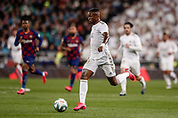 1st March 2020; Estadio Santiago Bernabeu, Madrid, Spain; La Liga Football, Real Madrid versus Club de Futbol Barcelona; Vinicius Junior (Real Madrid) gets into attack for Madrid