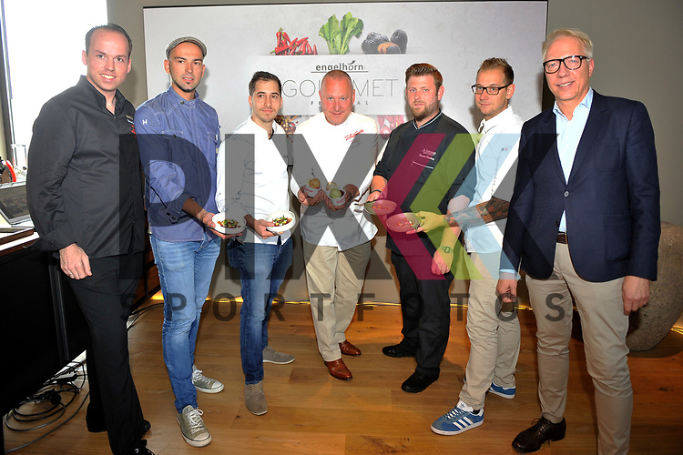 Mannheim 21.07.17 Pressegespraech &bdquo;engelhorn Gourmetfestival mit neuem Konzept&ldquo; im Bild v.l.: Tristan Brandt, Robert Raedel (R&auml;del), Philipp Stein, Dario Fontanella, Dominik Markowitz, Daniel Schimkowitsch und Oliver Beuthien.<br /> <br /> Foto &copy; Ruffler For editorial use only. (Bild ist honorarpflichtig - No Model Release!)
