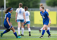 NWA Democrat-Gazette/CHARLIE KAIJO Rogers High School midfielder Skylurr Patrick (3) reacts after scoring her second goal during the semifinals of the 7A Girls State Soccer Tournament, Saturday, May 12, 2018 at Whitey Smith Stadium at Rogers High School in Rogers. Rogers advanced to the finals when midfielder Skylurr Patrick (3) scored both of Rogers' goals defeating Southside High School, 2-1.