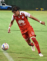 MONTERIA - COLOMBIA, 20-08-2018: Facundo Guichon, jugador de Santa Fe, en acción durante partido entre Jaguares de Córdoba y Independiente Santa Fe por la fecha 5 de la Liga Águila II 2018 jugado en el estadio Municipal de Montería. / Facundo Guichon, player of Sante Fe, in action during the match between Jaguares of Cordoba and Independiente Santa Fe for the date 5 of the Liga Aguila II 2018 at the Municipal de Monteria Stadium in Monteria city. Photo: VizzorImage / Andres Felipe Lopez / Cont
