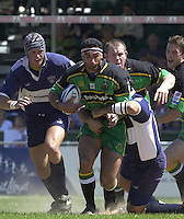 Sport - Rugby - Zurich Championship, 01/06/2002.Bristol v Northampton, Andrew Blowers, runs through the Bristol defense,   [Mandatory Credit, Peter Spurier/ Intersport Images].