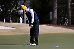 WILMINGTON, NC - MARCH 19: Kent State's Josh Whalen (CAN) putts on the Ocean Course sixth hole. The first round of the 2017 Seahawk Intercollegiate Men's Golf Tournament was held on March 19, 2017, at the Country Club of Landover Nicklaus Course in Wilmington, NC.