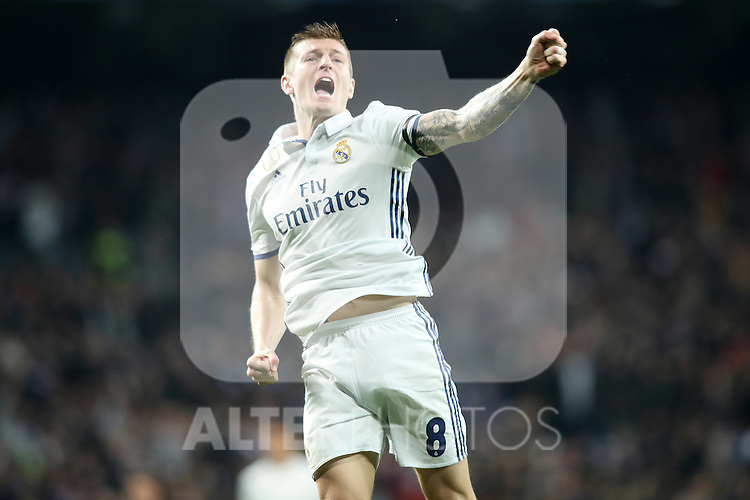 Real Madrid's Toni Kroos celebrates goal during Champions League 2016/2017 Round of 16 1st leg match. February 15,2017. (ALTERPHOTOS/Acero)