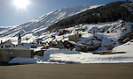 Snow covered village of Ritzingen in the Swiss alps- close to the Furkapass, Oberwald, Switzerland.