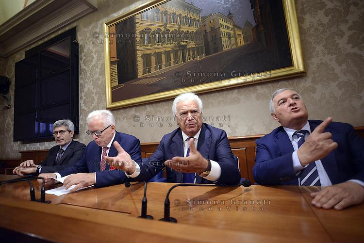 Roma 29 Luglio 2015.<br /> Riccardo Mazzoni, Lucio Barani, Denis Verdini, Vincenzo D'Anna.<br /> Conferenza stampa in senato per la presentazione del nuovo gruppo Alleanza Liberalpopolare-Autonomie, ALA.