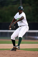 September 6 2008:  Pitcher Arquimedes Caminero of the Jamestown Jammers, Class-A affiliate of the Florida Marlins, during a game at Russell Diethrick Park in Jamestown, NY.  Photo by:  Mike Janes/Four Seam Images