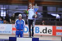 SCHAATSEN: ERFURT: Gunda Niemann Stirnemann Eishalle, 22-03-2015, ISU World Cup Final 2014/2015, winners Overall World Cup, Pavel Kulizhnikov (RUS), Heather Richardson (USA), ©foto Martin de Jong