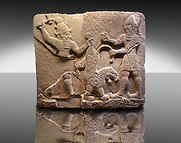 Picture & Image of  Neo-Hittite orthostat describing the legend of Gilgamesh from Karkamis.  To the left a bearded deity with a horned helmet is holding a lions back leg and is about to strike it with an axe. To the right a man is stabbing the lion with a dagger. An Ankara Museum of Anatolian Civilizations exhibit.