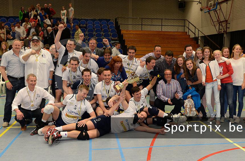 Bekerfinale Nationaal Divisie Heren : Hermes Oostende - VC Optima Lendelede : vreugde bij Lendelede na de bekerwinst <br /> foto VDB / BART VANDENBROUCKE