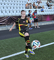 20140718 - Tonsberg , NORWAY : Belgian Magali Dinon pictured during the female soccer match between Women under 19 teams of Norway and Belgium , on the second matchday in group A of the UEFA Women Under19 European Championship at Tonsberg Stadion , Norway . Friday 18th July 2014 . PHOTO DAVID CATRY