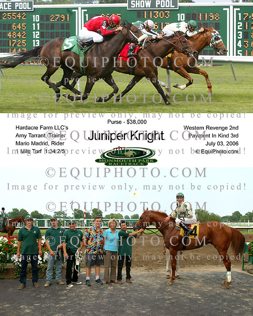 Juniper Knight #4 with Mario Madrid riding won the 8th race at Monmouth Park in Oceanport, N.J. on 7/3/06.  Photo By EQUI-PHOTO