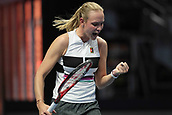 February 3rd 2019. St Petersburg, Russia; Donna Vekic of Croatia reacts during the St. Petersburg Ladies Trophy tennis tournament final match on February 03, 2019, at Sibur Arena