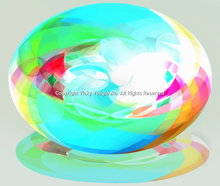 Bright multicolored three dimensional ellipse