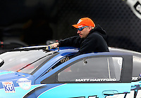 Feb 9, 2014; Pomona, CA, USA; NHRA pro stock driver Matt Hartford during the Winternationals at Auto Club Raceway at Pomona. Mandatory Credit: Mark J. Rebilas-