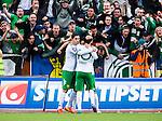 S&ouml;dert&auml;lje 2014-05-18 Fotboll Superettan Syrianska FC - Hammarby IF :  <br /> Hammarbys Pablo Pinones-Arce har gjort 3-2 och gratuleras av Hammarbys Nahir Besara och Hammarbys Kennedy Bakircioglu framf&ouml;r Hammarbys supportrar<br /> (Foto: Kenta J&ouml;nsson) Nyckelord:  Syrianska SFC S&ouml;dert&auml;lje Fotbollsarena Hammarby HIF Bajen jubel gl&auml;dje lycka glad happy supporter fans publik supporters