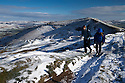 21/11/15<br /> <br /> Walkers enjoy dazzling sunshine and blue skies after overnight snow fall on Rushup Edge in the Derbyshire Peak District near Castleton.<br /> <br /> All Rights Reserved: F Stop Press Ltd. +44(0)1335 418365   +44 (0)7765 242650 www.fstoppress.com